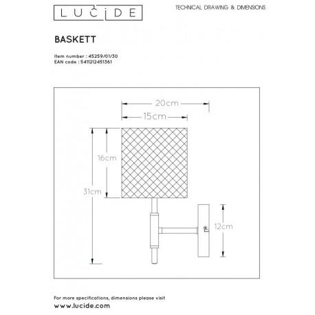 Lucide BASKETT Ścienna Czarny 1xE27 Styl Zabytkowy 45259/01/30