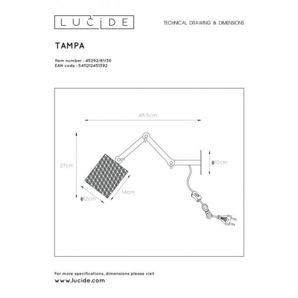Lucide TAMPA Ścienna Czarny 1xE27 Styl Skandynawski 45292/81/30