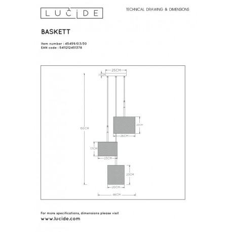 Lucide BASKETT Wisząca Czarny 3xE27 Styl Zabytkowy 45459/03/30