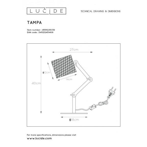 Lucide TAMPA Stołowa Czarny 1xE27 Styl Skandynawski 45592/81/30