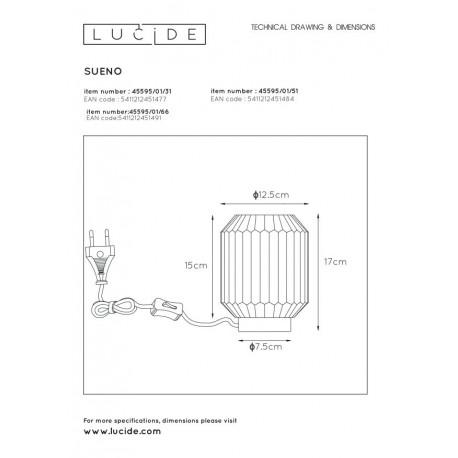 Lucide SUENO Stołowa Różowy 1xE14 Styl Klasyczny 45595/01/66