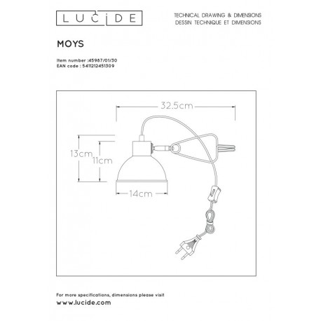Lucide MOYS Biurkowa z Uchwytem Czarny 1xE27 Styl Retro 45987/01/30