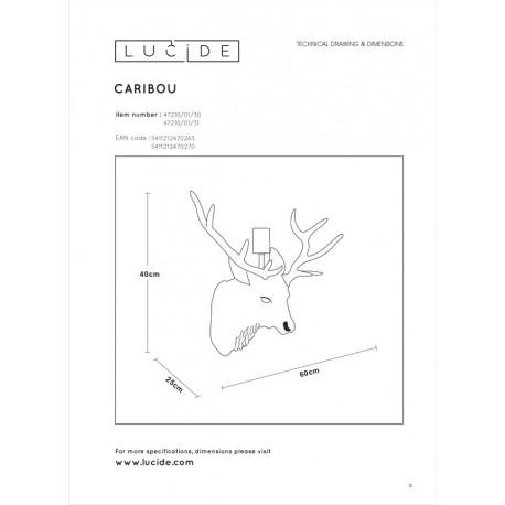 Lucide EXTRAVAGANZA CARIBOU Ścienna Biały 1xE27 Styl Rustykalny 47210/01/31
