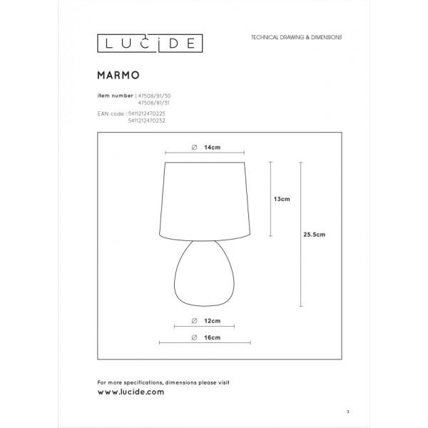 Lucide MARMO Stołowa Czarny 1xE14 Styl Klasyczny 47508/81/30