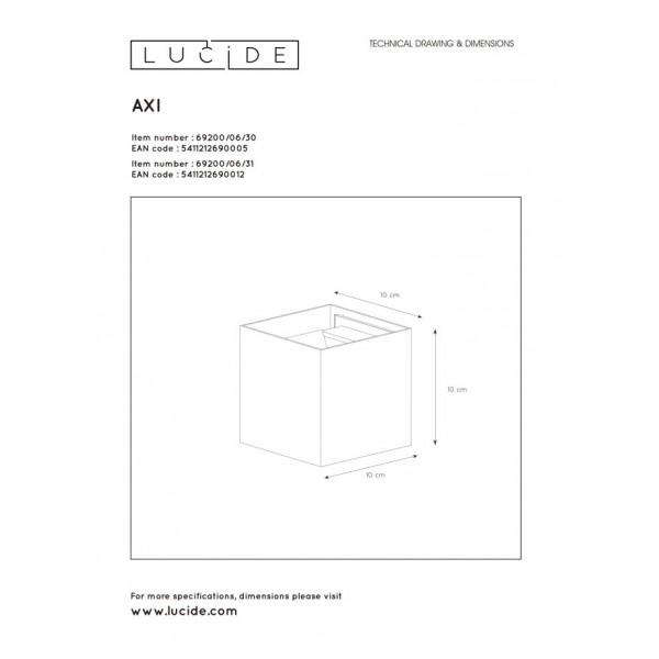 Lucide AXI Ścienna Kierunkowa Biały 1xLED Styl Nowoczesny 5469200/06/31