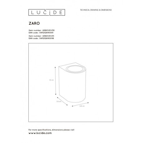 Lucide ZARO Ścienna Kierunkowa Czarny 1xGU10 Styl Nowoczesny 4469801/01/30