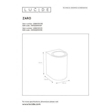Lucide ZARO Ścienna Kierunkowa Biały 1xGU10 Styl Nowoczesny 4469801/01/31