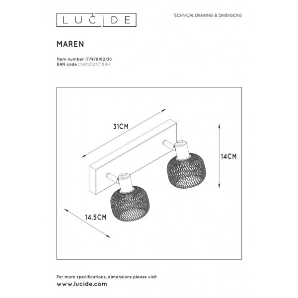Lucide MAREN Reflektor Sufitowy Czarny 2xE14 Styl Retro 77978/02/30