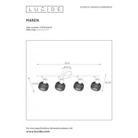 Lucide MAREN Reflektor Sufitowy Czarny 4xE14 Styl Retro 77978/04/30