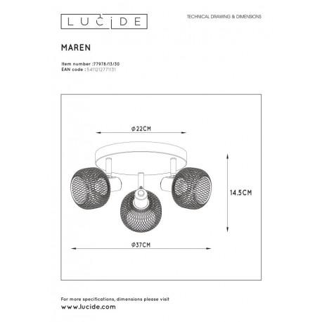 Lucide MAREN Reflektor Sufitowy Czarny 3xE14 Styl Retro 77978/13/30