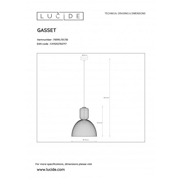 Lucide GASSET Wisząca Czarny 1xE27 Styl Retro 78395/01/30