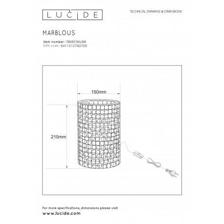Lucide EXTRAVAGANZA MARBELOUS Stołowa Transparentny 1xE14 Styl Retro 78597/01/60