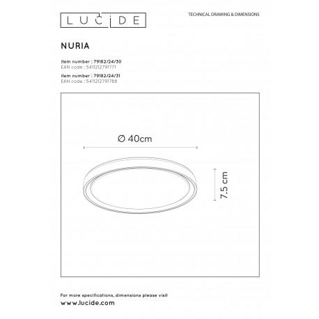 Lucide NURIA Sufitowa Natynkowa Biały 1xLED Styl Nowoczesny 79182/24/31