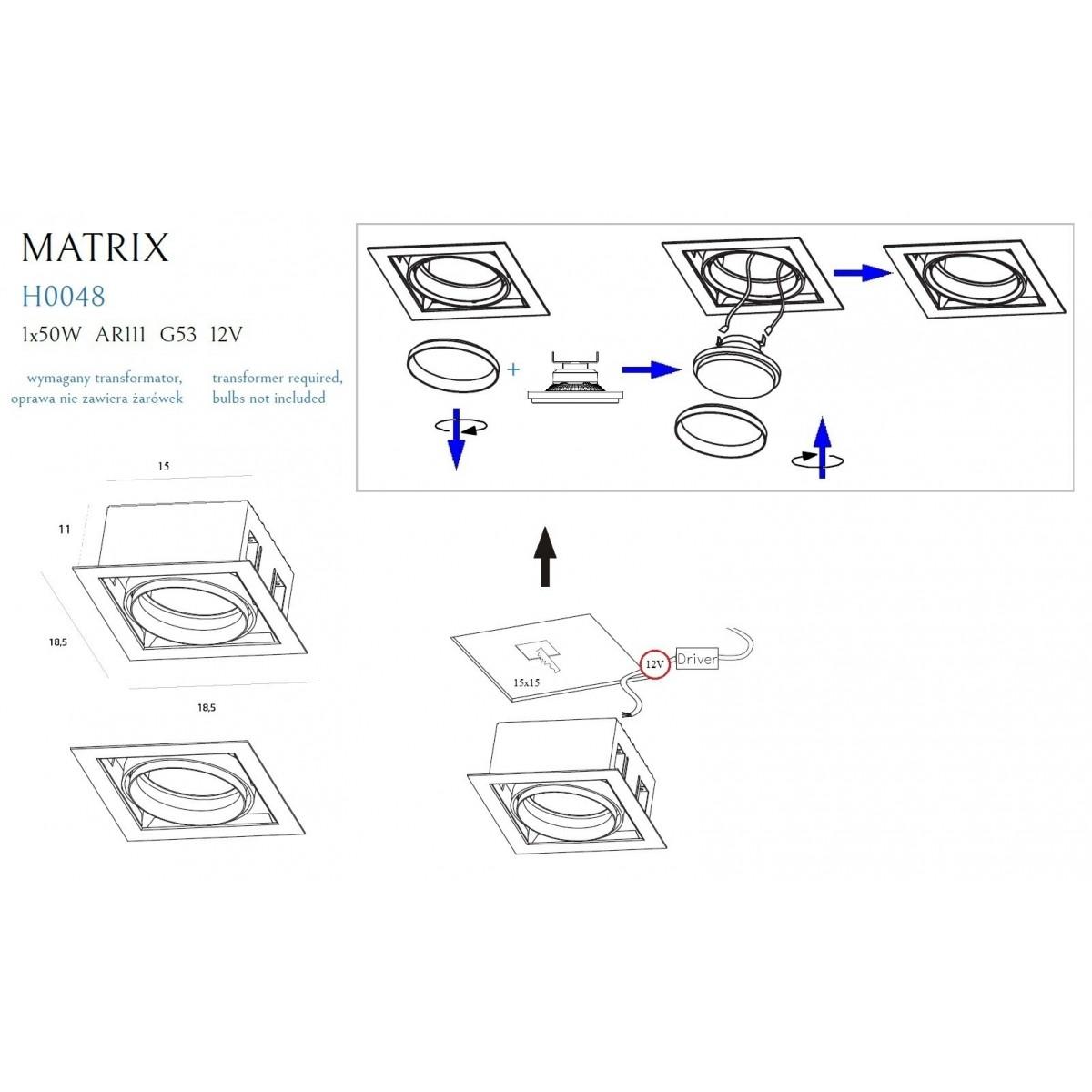 MAXlight MATRIX I H0048 Oprawa Halogenowa