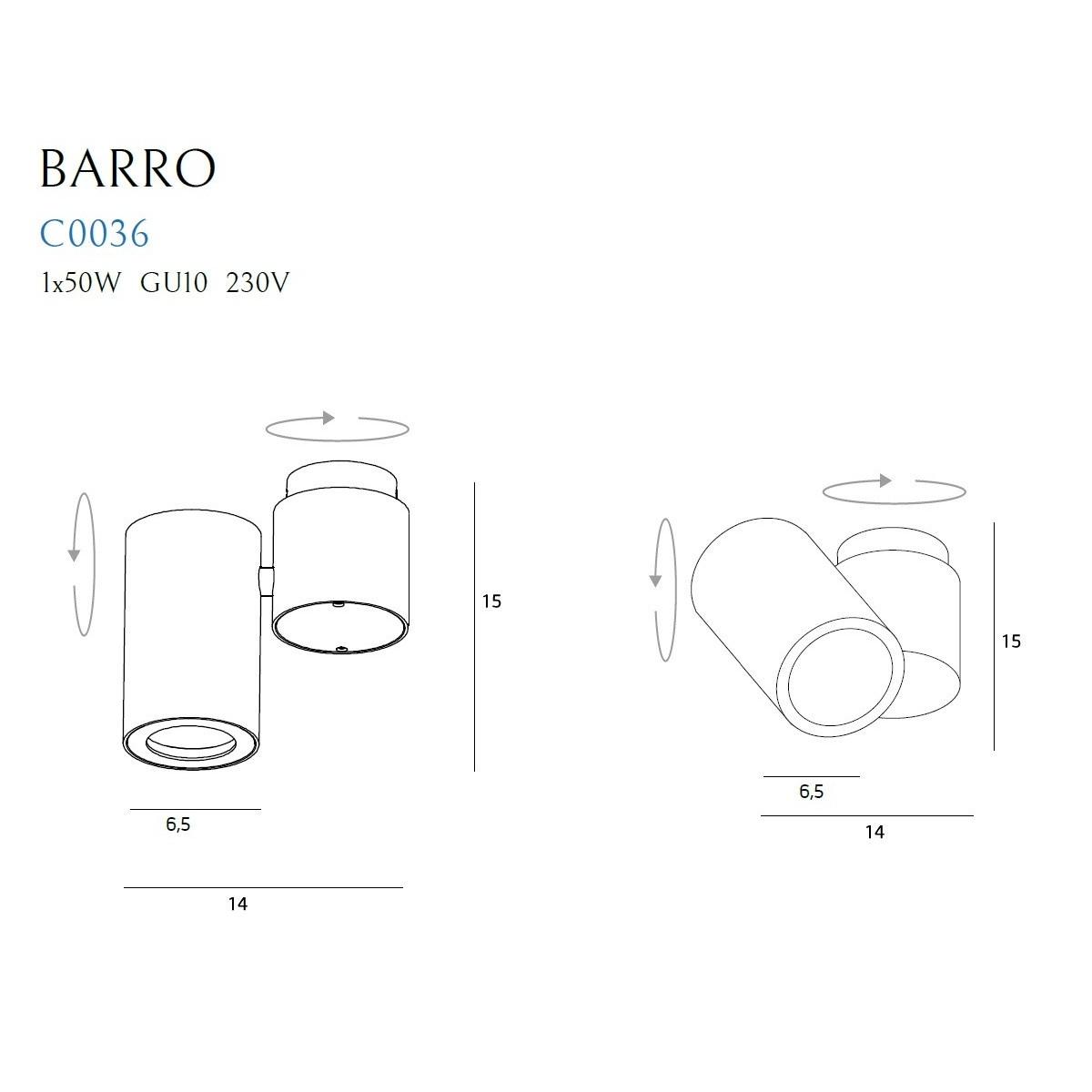 MAXlight BARRO Biały C0036 Sufitowa