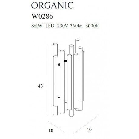 MAXlight Organic LED 8x1W 230V 360lm 3000K kinkiet W0286