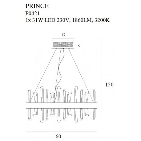 MAXlight Prince LED 31W 1860lm 3200K wisząca P0421