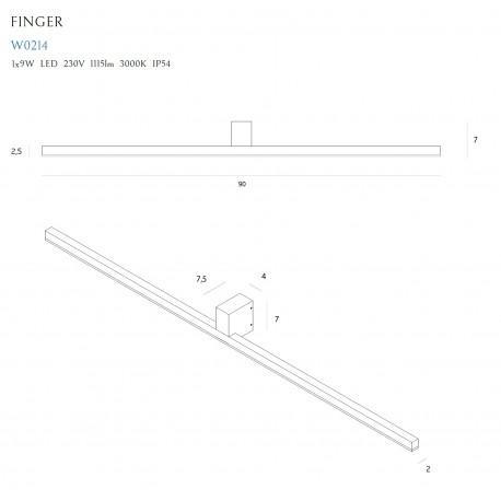 MAXlight Finger Kinkiet 9W 1115lm LED IP54 W0214