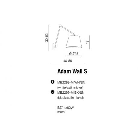 AZzardo ADAM WALL S Biały MB2299-S Kinkiet
