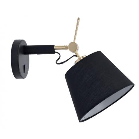 Azzardo ZYTA WALL XS BK/GO BLACK 1xE27 Ścienna z Włącznikiem Ruchoma Z Czarnym Abażurem Ramię Czarno Złote AZ4185