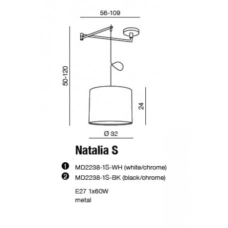 AZzardo NATALIA S Biały MD2238-1S-WH Wisząca