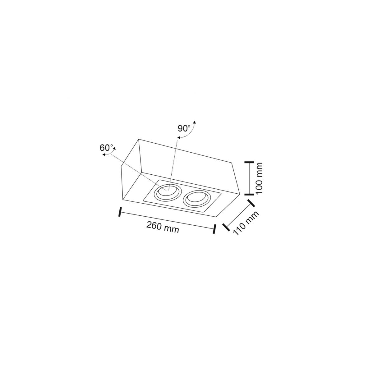 Shilo SETO H 2xGU10 czarny natynkowa 1215