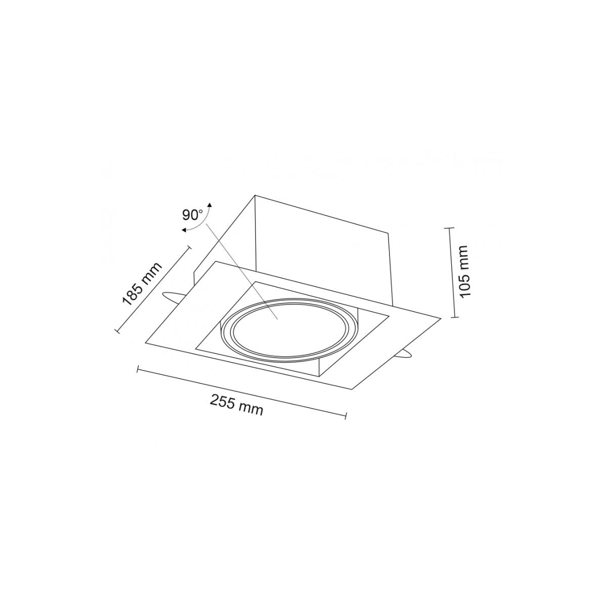 Shilo MUKO H 1xES111 230V czarny wpuszczana 3356