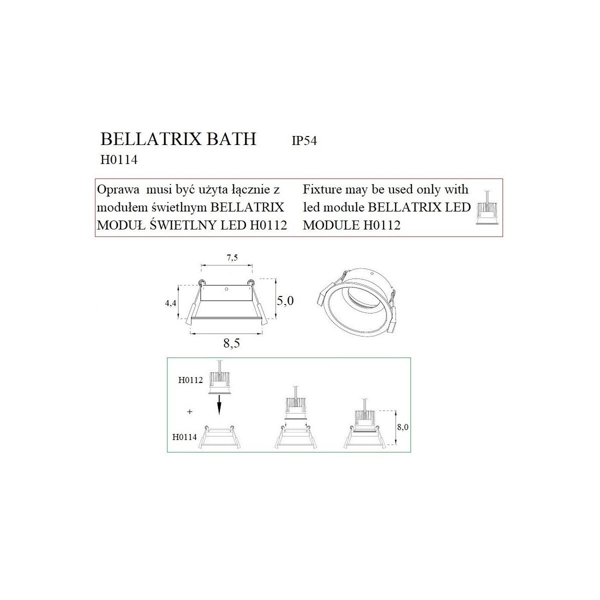 MAXlight Bellatrix Bath Oprawa Wpustowa Czarna IP54 Hermetyczna H0114 - Bez Modułu LED (zamawiany osobno)