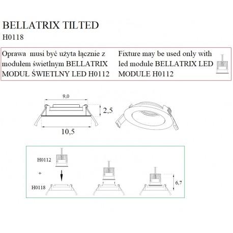 MAXlight Bellatrix Tilted Oprawa Wpustowa Czarna Regulowana H0118 - Bez Modułu LED (zamawiany osobno)