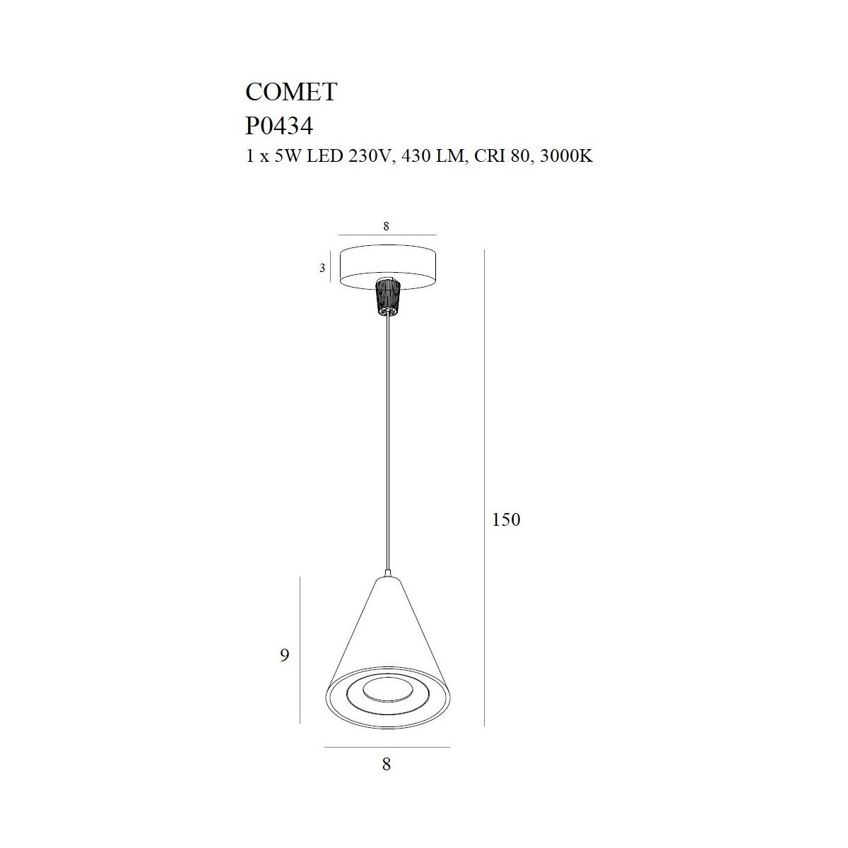 MAXlight Comet Bell Wisząca 5W 430lm 3000K Czarny P0434