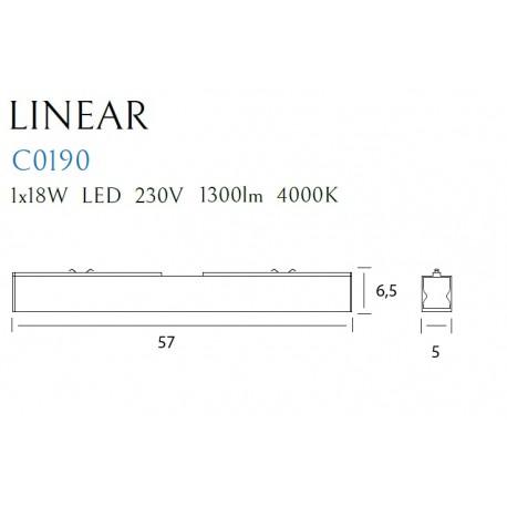 MAXlight Linear Black Sufitowa 18W LED 1300lm 4000K Czarny C0190