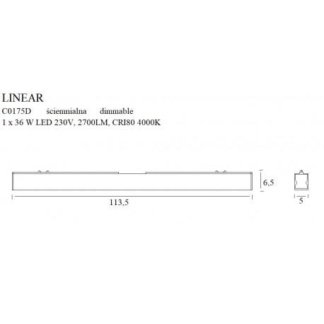 MAXlight Linear Black Sufitowa 36W 2700lm 4000K Ściemnialna C0175D