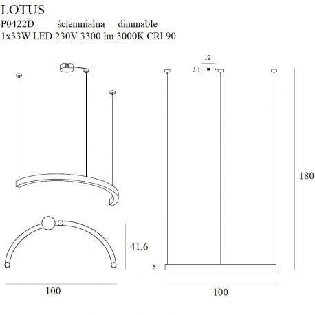 MAXlight Lotus Wisząca 33W LED 3300lm 3000K Złota Ściemnialna P0422D