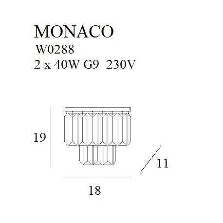 MAXlight Monaco Kinkiet 2xG9 Złoty W0288