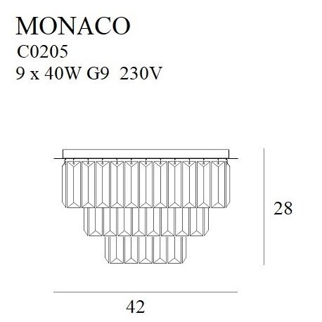 MAXlight Monaco Plafon Złoty 9xG9 42cm C0205