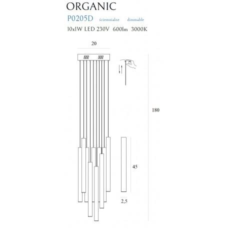 MAXlight Organic Wisząca 10x1W LED 600lm 3000K Miedź Mała Ściemnialna P0205D
