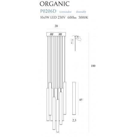 MAXlight Organic Wisząca 10x1W LED 600lm 3000K Chrom Mała Ściemnialna P0206D