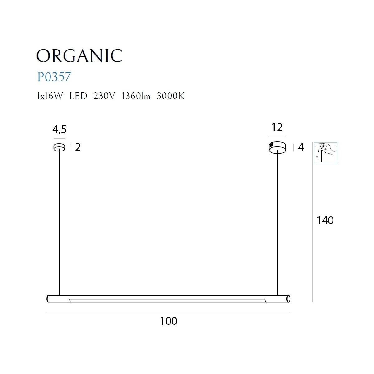 MAXlight Organic Horizon Wisząca 16W LED 1360lm 3000K 100cm Biała Ściemnialna P0357D