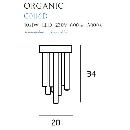 MAXlight Organic Plafon Mały 10x1W LED 600lm 3000K Ściemnialny Miedź C0116D