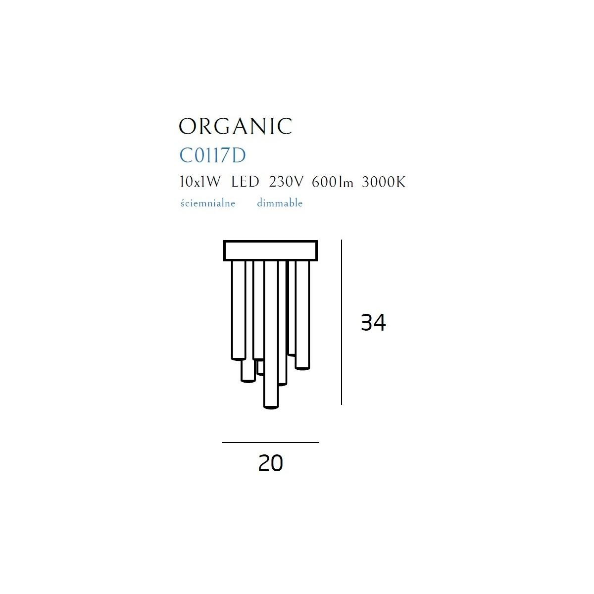 MAXlight Organic Plafon Mały 10x1W LED 600lm 3000K Ściemnialny Chrom C0117D