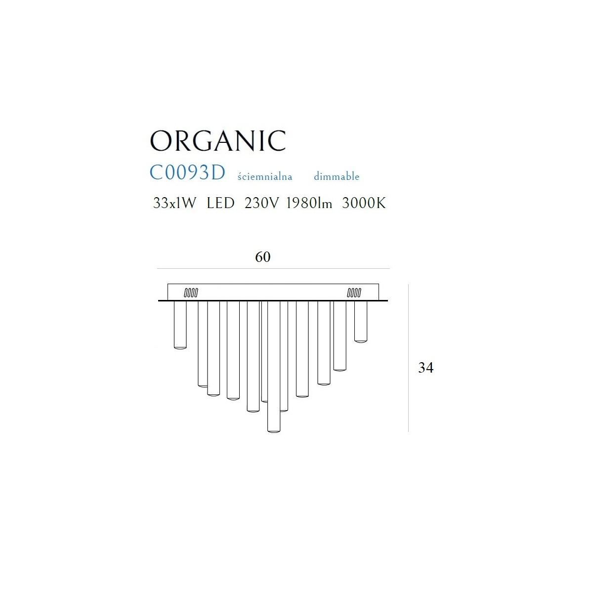 MAXlight Organic Plafon 33x1W 1980lm 3000K Miedź Ściemnialny C0093D