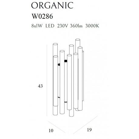 MAXlight Organic Kinkiet 8x1W 360lm 3000K Ściemnialny Czarny W0286D