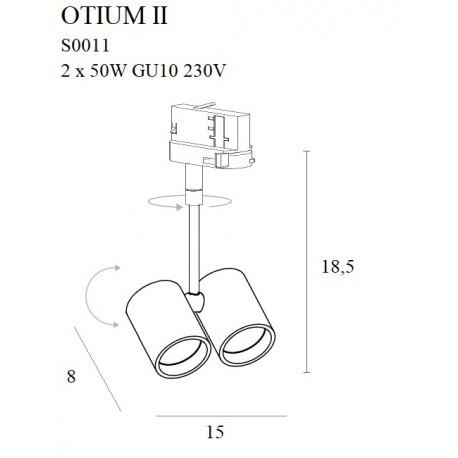 MAXlight Otium II Reflektor do Szynoprzewodu Trójfazowego 2xGU10 Czarna S0011