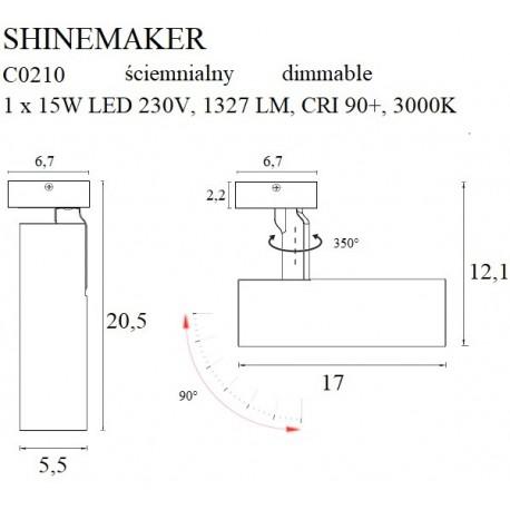 MAXlight Shinemaker Reflektor Sufitowy 15W LED 1327lm 3000K Czarny Ściemnialny C0210
