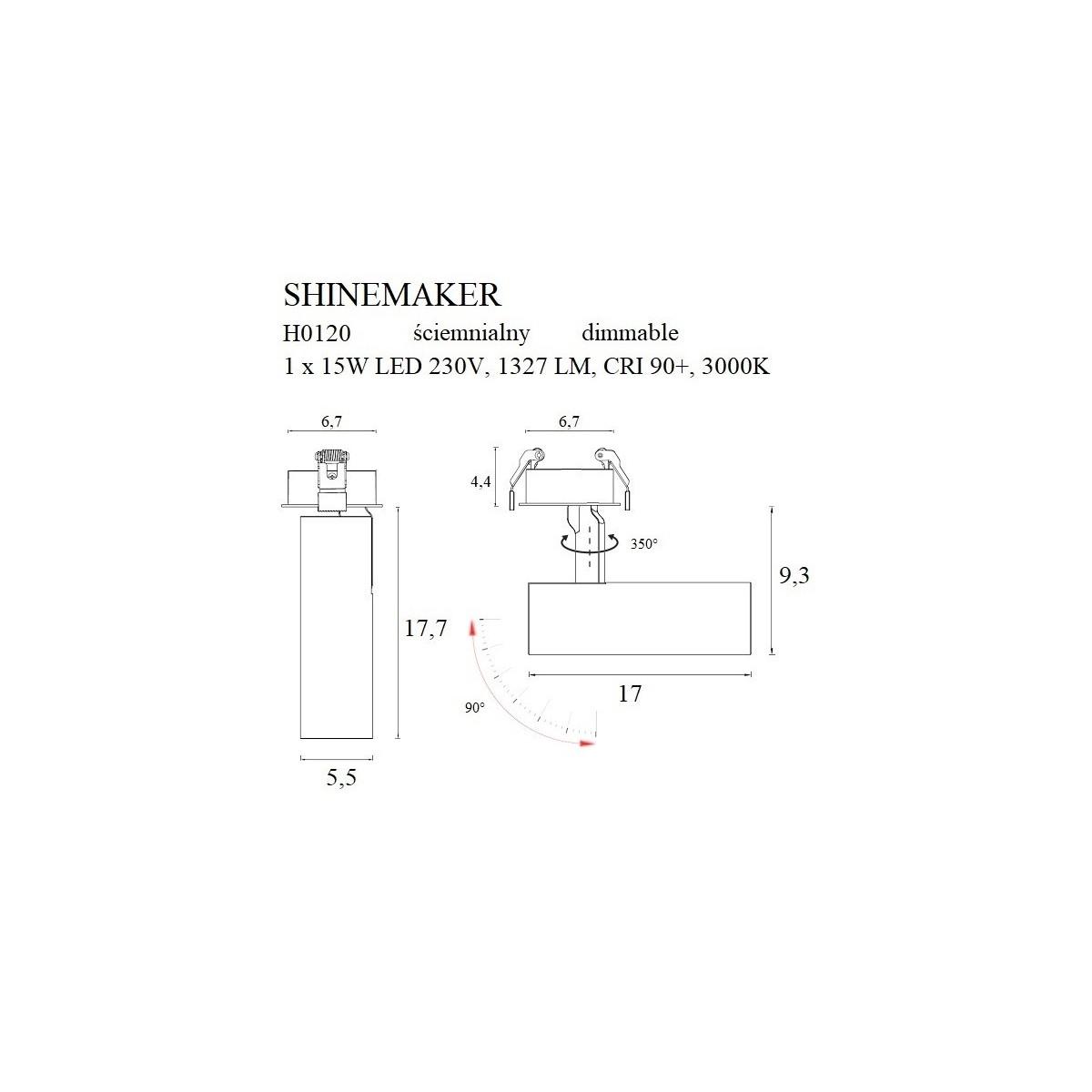 MAXlight Shinemaker Reflektor Sufitowy Wpuszczany 15W LED 1327lm 3000K Czarny Ściemnialny H0120
