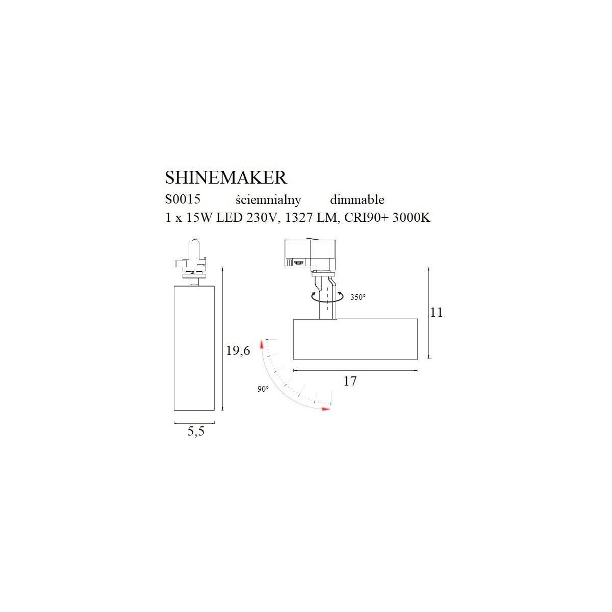 MAXlight Shinemaker Reflektor Do Szynoprzewodu 3F 15W LED 1327lm 3000K Biały Ściemnialny S0015
