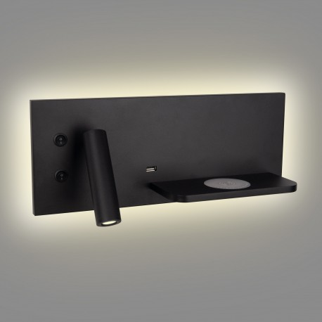 MAXlight Superior Kinkiet 3W+6W LED 240lm+300lm z Gniazdem USB i Ładowarką Indukcyjną Czarny W0292