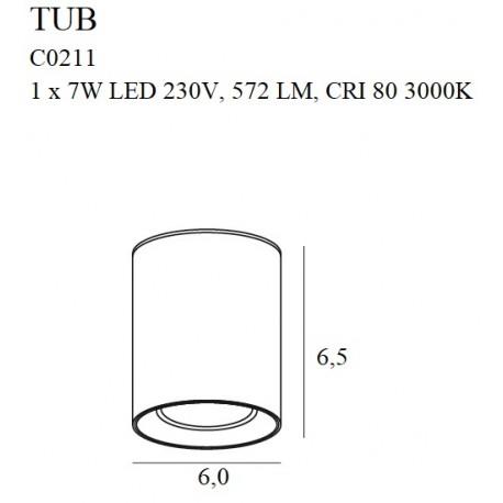MAXlight Tub Sufitowa Okrągła 7W LED 572lm 3000K Czarny + Pierścień Ozdobny Złoty C0211
