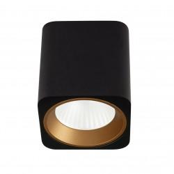 MAXlight Tub Sufitowa Kwadrat 7W LED 572lm 3000K Czarny + Pierścień Ozdobny Złoty C0212