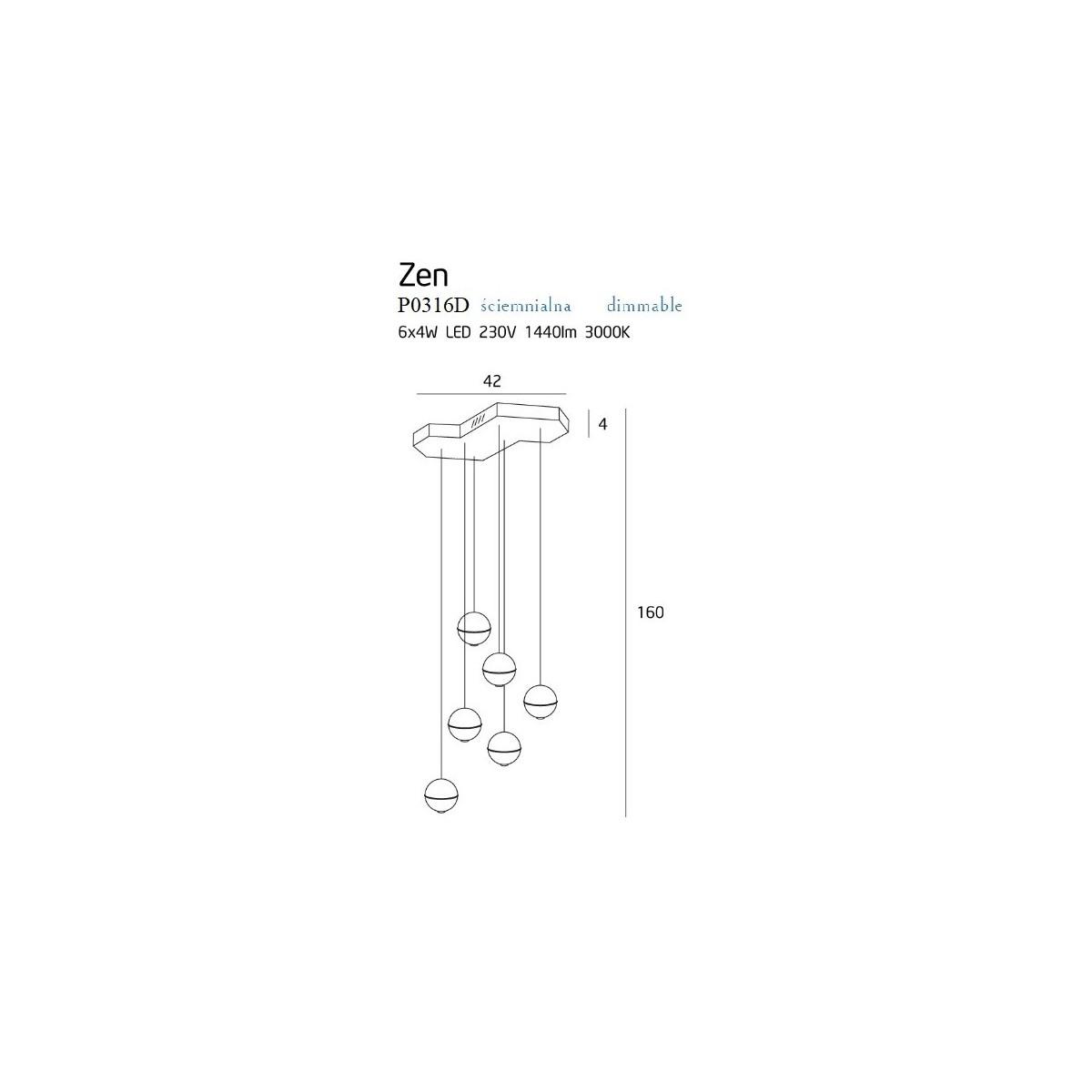 MAXlight Zen 6 Wisząca 6x4W LED 1440lm 3000K Ściemnialna Miedź P0316D